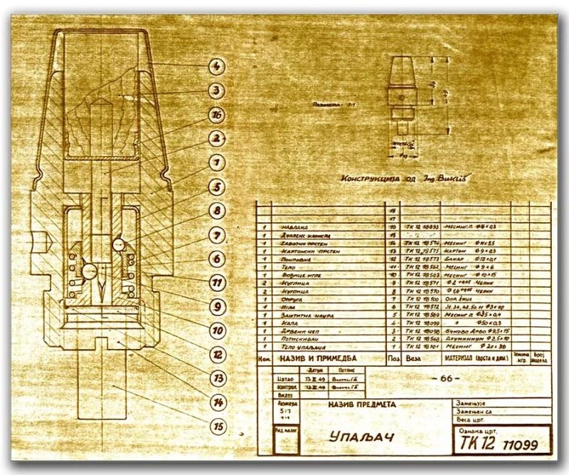 Originalni tehnicki crtec upaljaca K-301