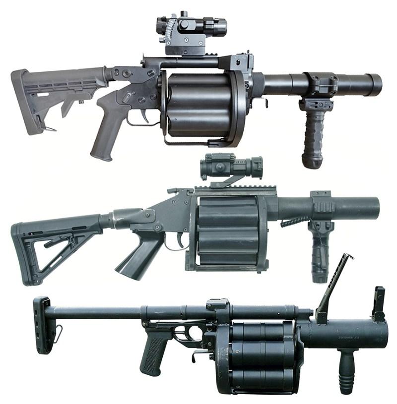 Domaci RBG 40mm-6-M11, izraelsko-americki 40x46mm M32 MGL Milkor, ruski 40mm 6G30 Gnom