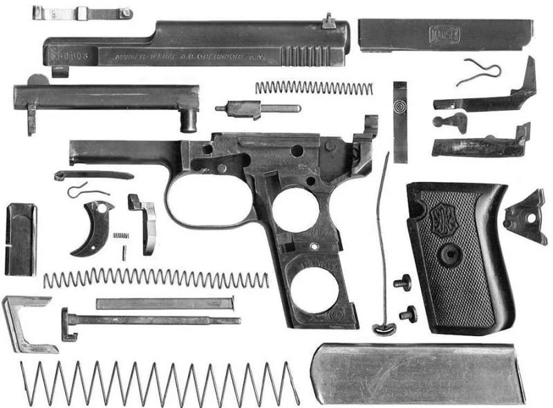 Pištolj Mauser M914 u rasklopu