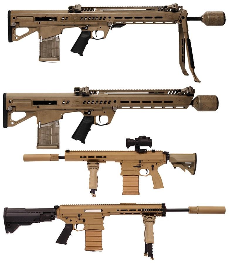 Prototipovi pušaka NGSW (odozgo na dole): ''General Dynamics'' AR, ''General Dynamics'' R, ''Mars Inc.'' i ''Cobalt Kinetics''.