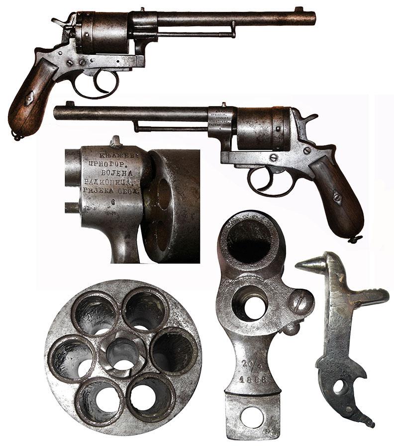 Revolver sa utisnutim datumom 20/4 1888, ćirilićnim natpisom KNJAŽEV:/CRNOGOR./VOJENA/RADIONICA./RIJEKA OBOD. i brojem 6