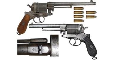 Crnogorski službeni revolveri 11.2 mm sistema Gasser M1870 (gore) i M1870/74 (dole) sa monogramom knjaza/kralja Nikole I (NI) na osnovi cijevi