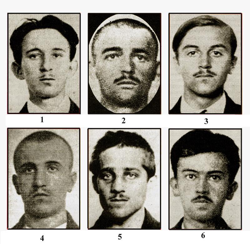 Atentatori: Vaso Čubrilović, Nedeljko Čabrinovič, Cvetko Popović, Danilo Ilić, Gavrilo Princip i Trifko Grabež
