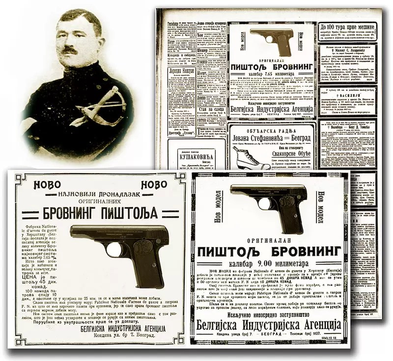 Charles Mathieu Doucet, vlasnik beogradske ''Belijske industrijske agencije'' i reklama za pištolj brauning M1910 u dnevnom listu ''Politika'' (10 januar 1913.)
