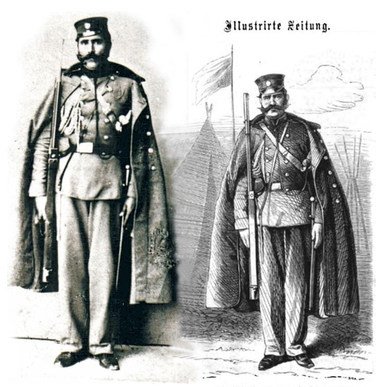 Fotografija i crtež iz austrijske štampe – drpski žandarm 1861 godine.