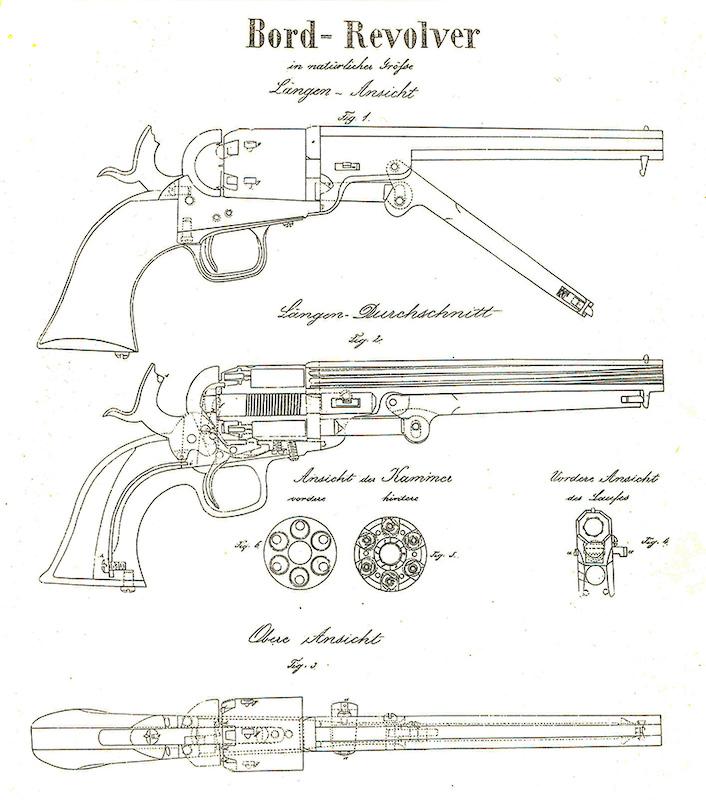 Crtež austrijskog mornaričkog ''palubnog'' revolvera. Autor kapetan Gibiš