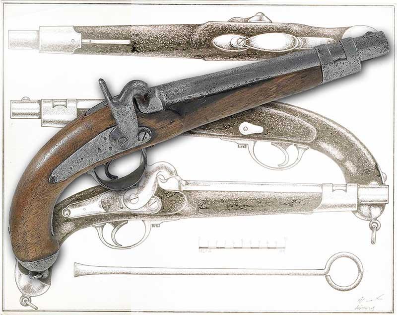 pistolj M1857 detalj mehanizma