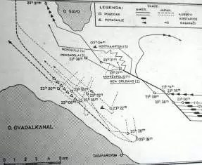 Šematski prikaz bitke kod Tasafaronga 30. novembra 1942.