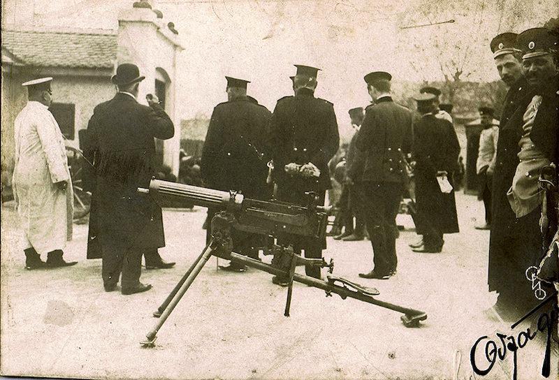Mitralјez sistema Maxim sa orebrenim hladnjakom na probama u Kragujevcu, 1908. godine