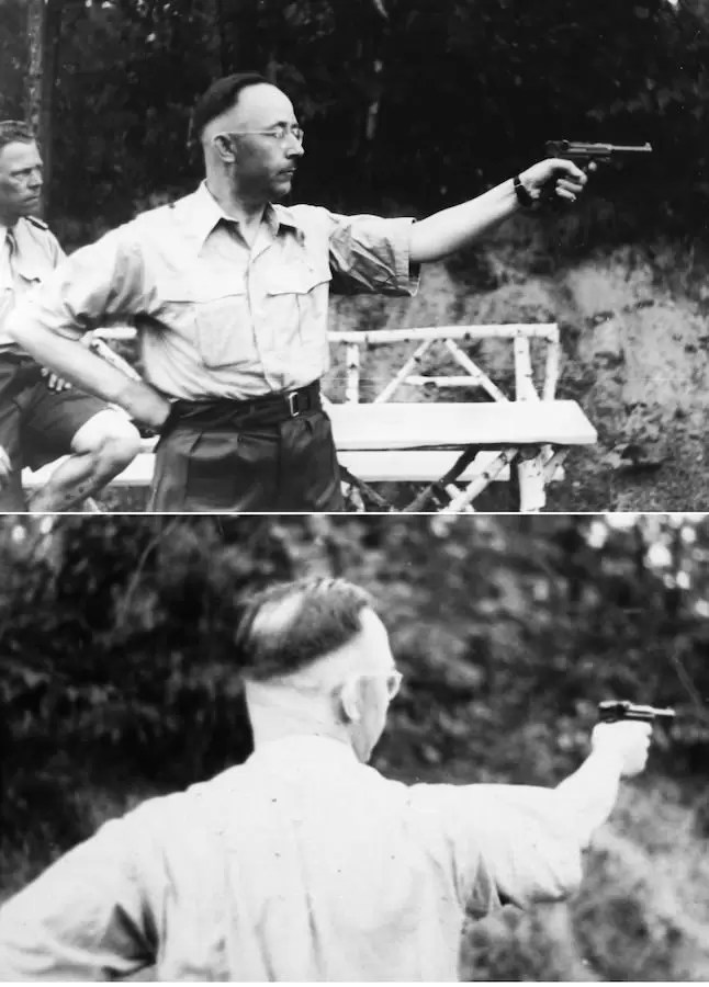 Hajnrih Himler vežba gađanje iz 9mm P-08 (Luger)