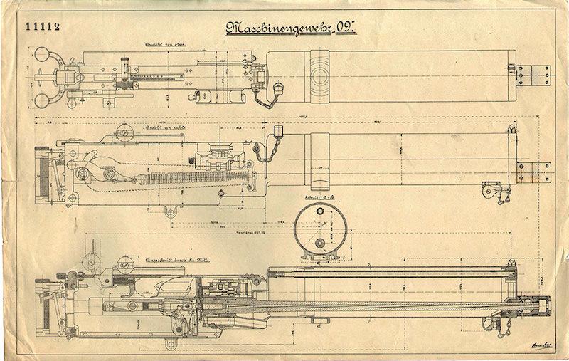 Tehnički crtež 11112 izgleda i preseka mitraljeza M1909 (crnogorski M1912), priložen uz Ponudu berlinskog DWM Crnoj Gori