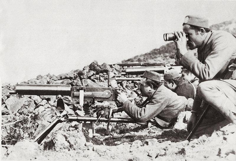 Posada mitraljeza 7,62 mm Maxim M1912 na pložaju