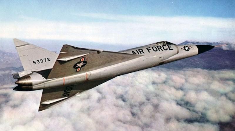 Convair F-102A (S/N 55-3372) in flight. (U.S. Air Force photo)
