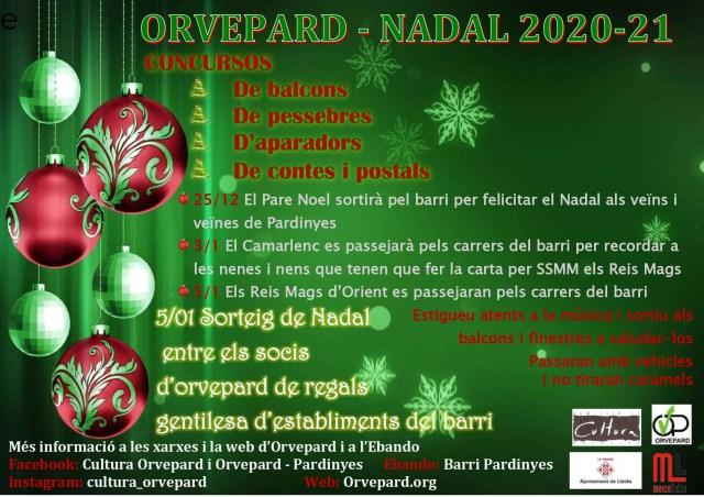 ACTIVITATS CULTURA ORVEPARD – NADAL 2020-21