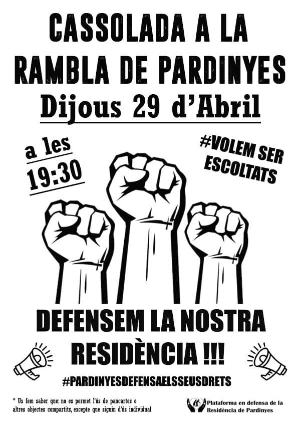 Cassolada el 29 d'abril en defensa de la Residència a Pardinyes