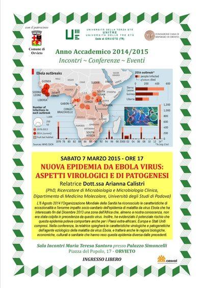 """Conferenza su """"Nuova Epidemia da Ebola Virus: aspetti virologici e di patogenesi"""""""