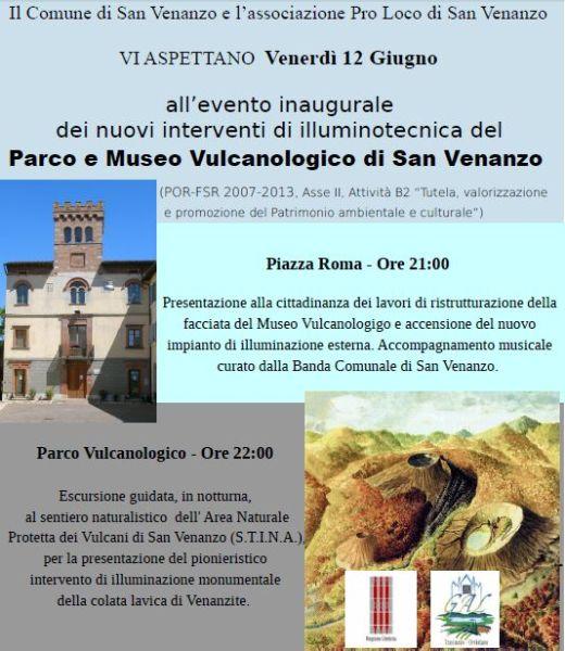 Nuova illuminazione al Parco e museo vulcanologico di San Venanzo