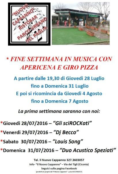 Al Nuovo Cappanno fine settimana in musica con Apericena e Giro Pizza