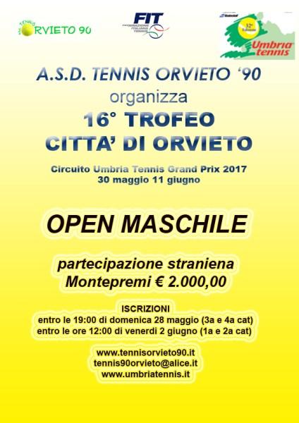 Asd Tennis Orvieto '90 organizza il 16° Trofeo Città di Orvieto