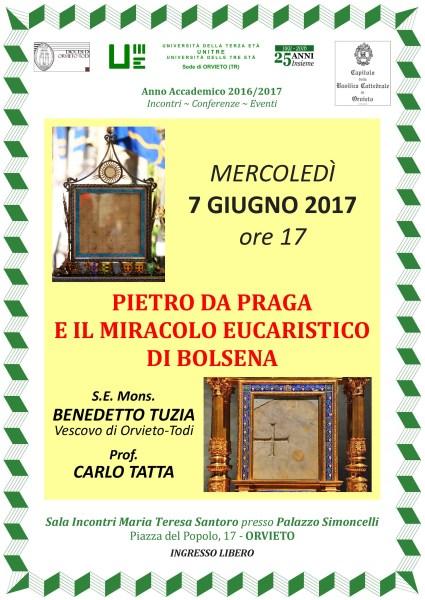 Ultimo appuntamento Unitre: incontro con il vescovo Benedetto Tuzia e il prof Tatta sul Miracolo Eucaristico