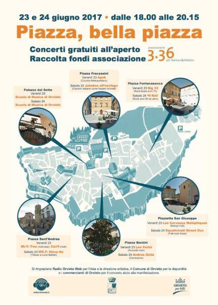 """""""Piazza, bella piazza"""", 40 musicisti orvietani scendono in strada per aiutare  l'Associazione """"3.36. Per Barbara & Matteo"""""""