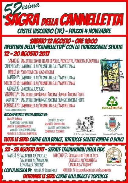 A Castel Viscardo fino al 20 agosto c'è la Sagra della Cannelletta