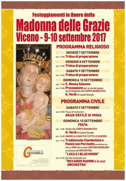 A Viceno (Castel Viscardo) si aprono i festeggiamenti per la Madonna delle Grazie