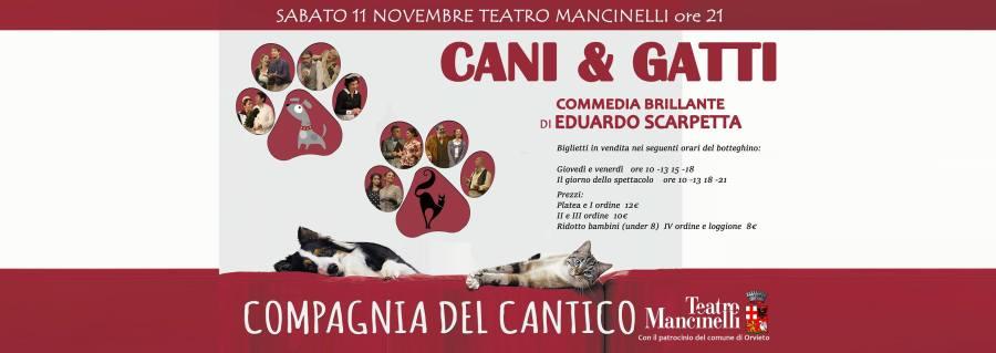"""Al Mancinelli arriva la Compagnia del Cantico con la commedia """"Cani & Gatti"""""""