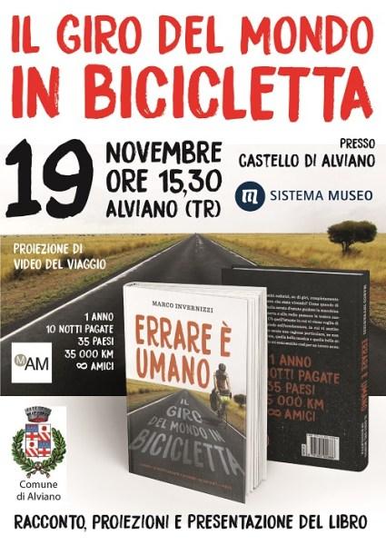 """""""Il giro del mondo in bicicletta"""", presentazione del libro di Invernizzi al Castello di Alviano"""