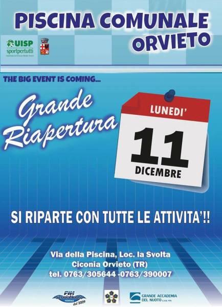 Riapre la piscina comunale de La Svolta, l'11 dicembre grande evento per la ripresa delle attività
