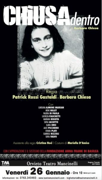 """Per non dimenticare, al Mancinelli per le vittime della Shoah va in scena """"Chiusa Dentro"""""""