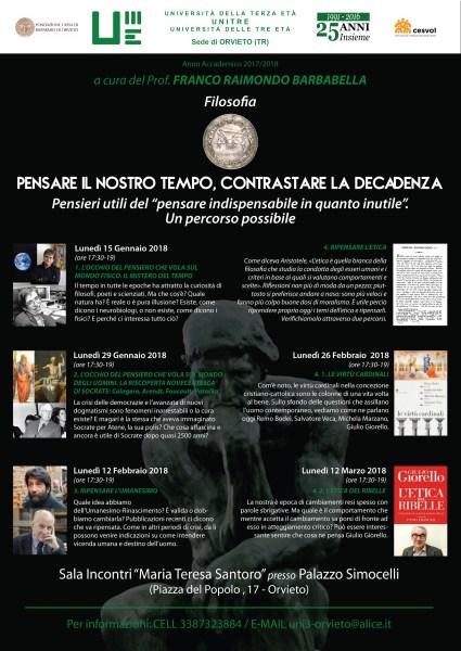 Riparte all'UniTre il corso di Filosofia curato dal Prof.Franco Raimondo Barbabella