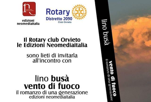 """Evento Rotary: il romanzo di Lino Busà """"Vento di Fuoco. Il romanzo di una generazione"""""""