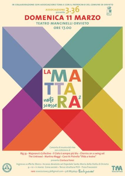 """""""La Mattara 2"""", al Mancinelli una serata musicale con l'Associazione 3.36. Il ricavato per acquisto ventilatore polmonare"""