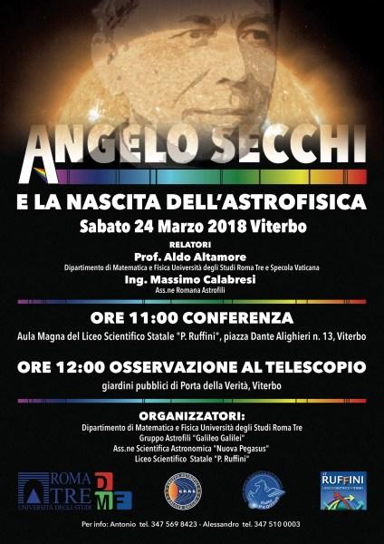 """""""Angelo Secchi e la nascita dell'Astrofisica"""", a Viterbo una conferenza a 200 anni dalla sua scomparsa"""
