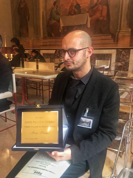 Premio Italiano di Pedagogia 2018 consegnato a Mario Pireddu, docente Unitus