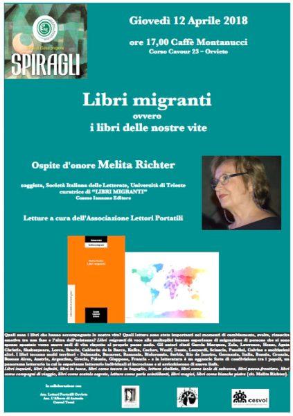 """Con Melita Richter """"Il filo di Eloisa"""" propone """"Libri migranti, ovvero i libri delle nostre vite"""""""