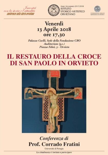 Alla scoperta del restauro della Croce di San  Paolo con il prof. Fratini alla conferenza Isao
