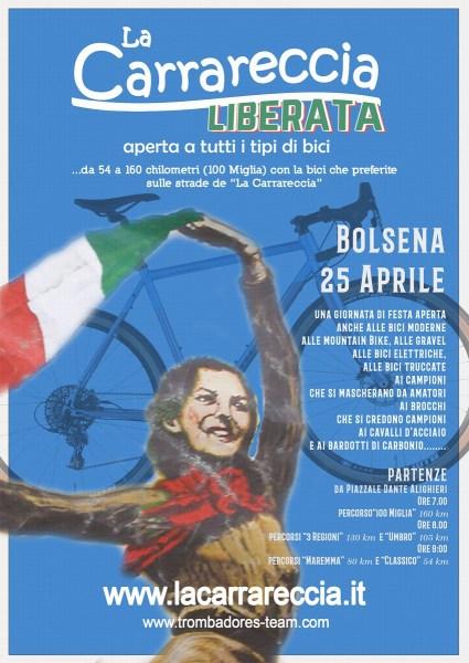 Al via il 25 aprile la Carrareccia Liberata, manifestazione cicloturistica su cinque percorsi