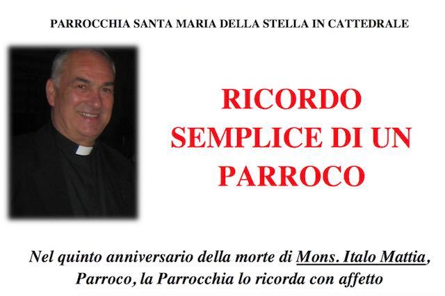 La Parrocchia Santa Maria della Stella ricorda Don Italo Mattia nel quinto anniversario della morte