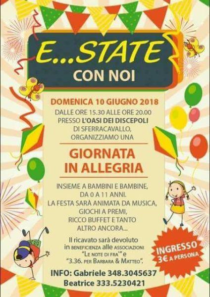"""Festa per bambini """"E..state con noi"""" a Sferracavallo. Giochi e divertimento per beneficienza"""