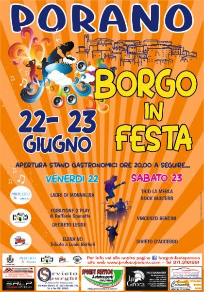"""Porano, una due giorni con musica e divertimento al ritmo di """"Borgo in Festa"""""""