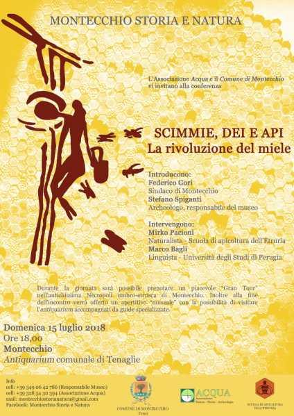"""""""Scimmie, Dei e Api. La rivoluzione dei miele"""", convegno all'Antiquarium di Montecchio"""