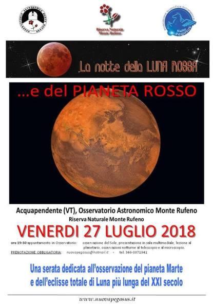 La notte della Luna & del Pianeta Rosso, appuntamento all'Osservatorio del Monte Rufeno