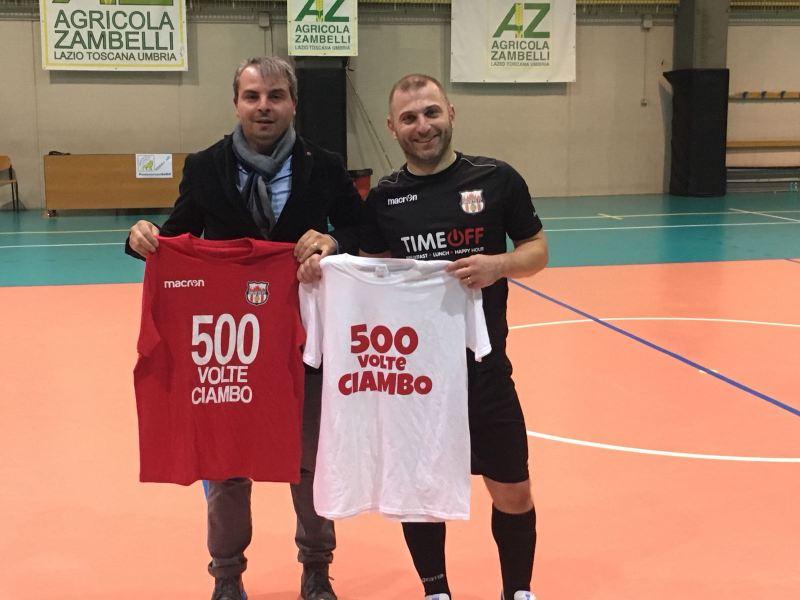 Grazie festa all'Orvieto FC, 500 gol nel futsal per Riccardo Ciambottini