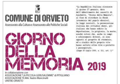 Giorno della Memoria 2019, gli eventi del Comune di Orvieto