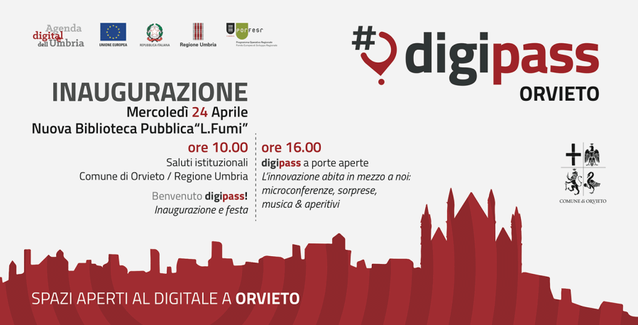 """Orvieto inaugura il suo Digipass. Spazi aperti al digitale per 40 ore alla settimana presso la Nuova Biblioteca  Pubblica """"L.Fumi"""""""