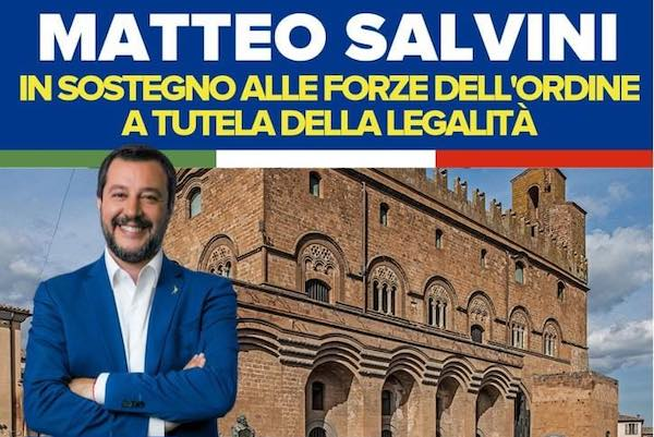 Continua il tour di Matteo Salvini, sarà a Orvieto e Fabro