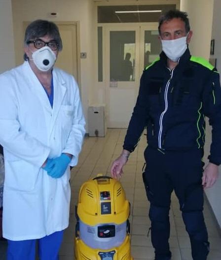 Donato sanificatore per la Radiologia del Santa Maria della Stella