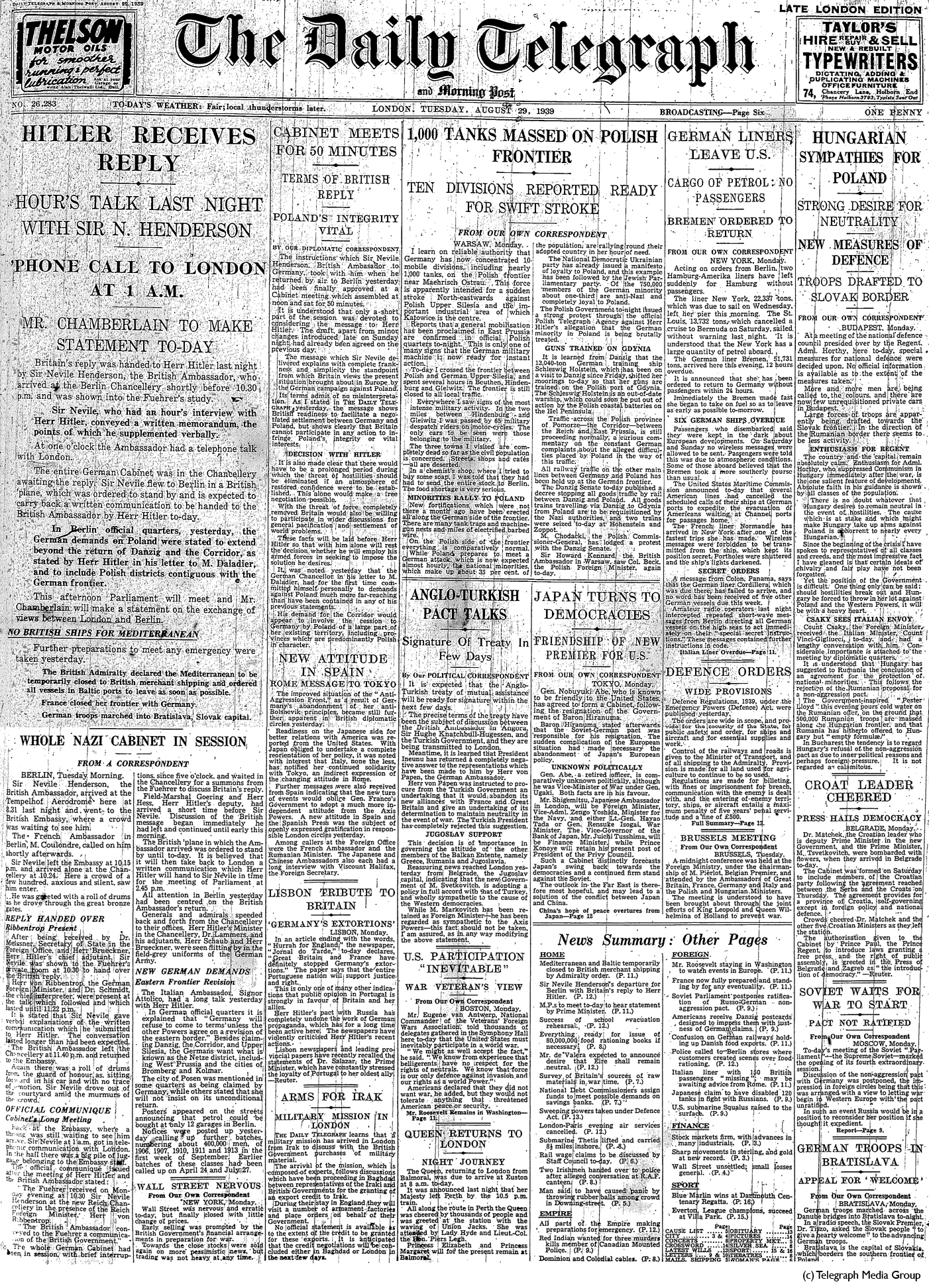 Daily Telegraph 29-8-39 Page 1